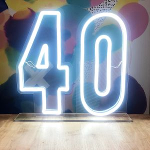 * 40 * LED Neon Number Sign for Birthday Parties, Anniversaries & Events! - photo CustomNeon.com