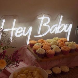 Hey Baby Neon Sign for Baby Showers, Sip n See & Welcome Baby Parties - photo from CustomNeon.co.uk