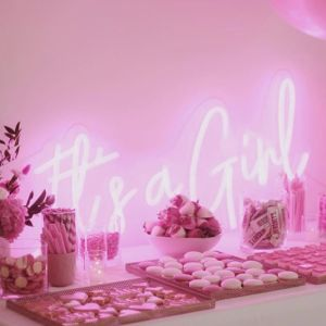 It's a Girl Pink Neon Sign for Baby Showers/Gender Reveals - photo from CustomNeon.co.uk