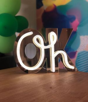 OH OK On trend mini neon sign - Oh lights up and the OK background transforms the the sign into something clever and totally cool.