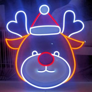 UV printed LED reindeer shown illuminated (turned on) - photo from CustomNeon.co.uk