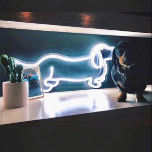 Dachshund Neon Art shown as home decor with a real life sausage dog - photo from CustomNeon.co.uk